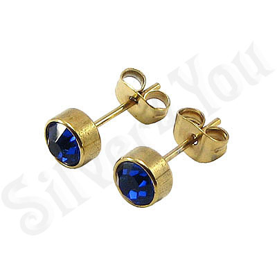 Cercei inox aurit si zircon albastru/6 mm - BR6153