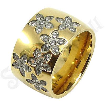 Inel inox aurit cu zirconii albe - BR6162