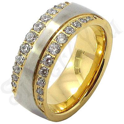 Inel  inox aurit cu zirconii albe - BR6450