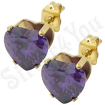 Cercei inox auriti cu piatra inima mov/ 5 mm - BR6455