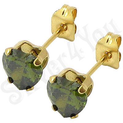 Cercei inox auriti cu piatra inima oliv/ 5 mm - BR6458