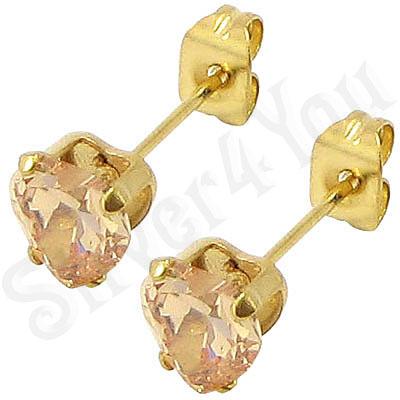 Cercei inox auriti cu piatra inima sampanie/ 5 mm - BR6459
