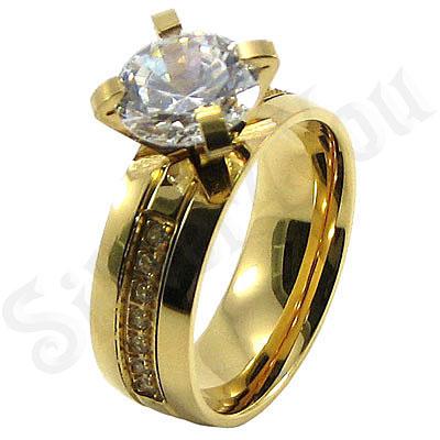 BR6350 - Inel de logodna din inox aurit cu zirconii