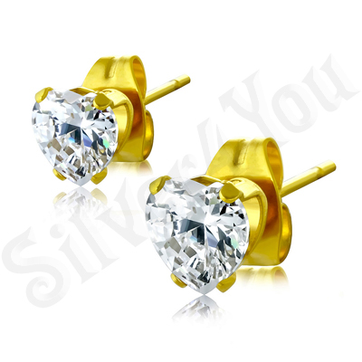 Cercei inox aurit mici cu zirconii albe/3 mm - BR6422