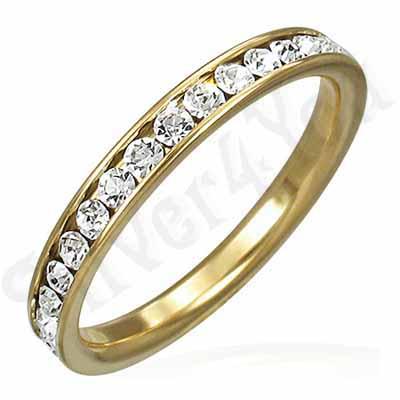 Inel inox aurit cu zirconii albe - IF908