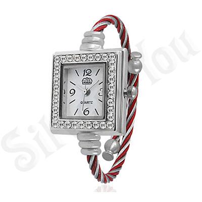 Ceas dama  fashion rosu cu alb - BF1280