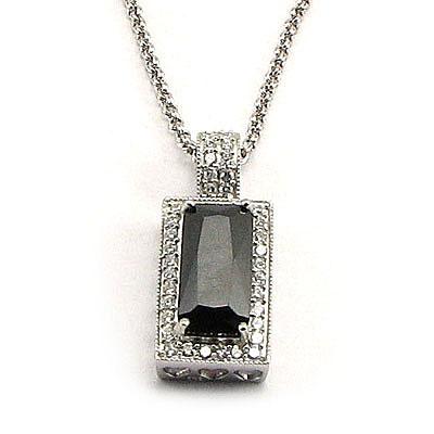 Lant cu pandantiv din argint cu zirconii - LF1004