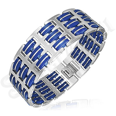 Bratara inox si silicon albastru - BK913