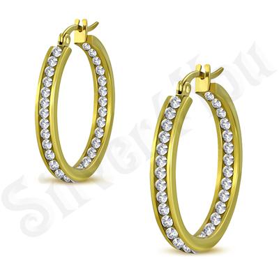Cercei inox aurii cu zirconii albe/ 3 cm - LR5046