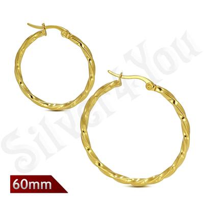 Cercei inox model rasucit in culoarea aurului/ 6 cm - LR5073