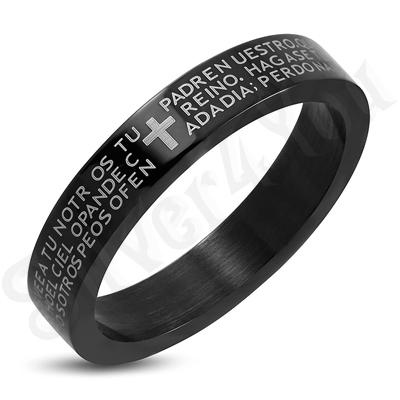 Inel inox negru cu rugaciune - LR5086