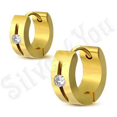 Cercei inox auriu cu zirconiu alb - LR5049