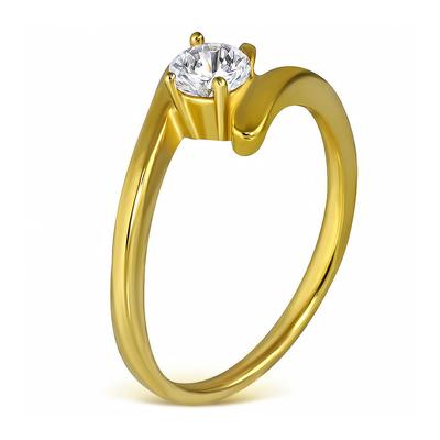 Inel inox in culoarea aurului cu zircon alb - LR5090