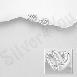 AR200 - Cercei argint  inimioara cu zirconii albe