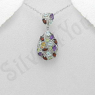AR205 - Pandantiv argint cu pietre semipretioase colorate