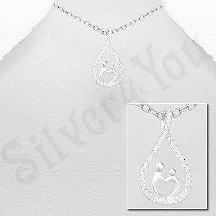 Pandantiv argint mama si copilul intr-o lacrima - AR153