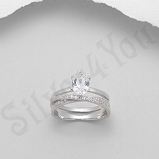 Inel argint logodna cu zirconii albe - AG100