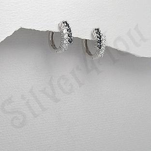 Cercei argint veriga cu zirconii albe si negre - AR165