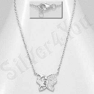 Colier argint fluture cu zirconii  albe - AR159