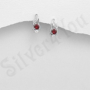 Cercei argint cu zirconiu rosu - AR108