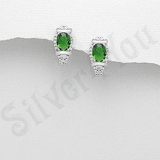 Cercei argint cu zirconiu verde - AR116