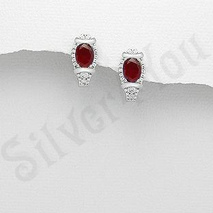 Cercei argint cu zirconiu rosu - AR117