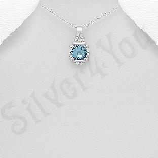 Pandantiv argint cu zirconiu albastru - AR122