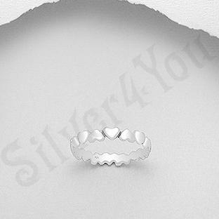 Inel argint format din inimioare - AR187