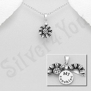 Pandantiv argint floare cu mesaj - AR185