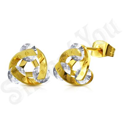 Cercei inox mici auriti cu pietre - ST108