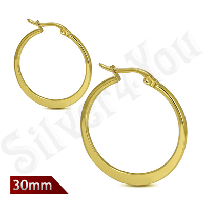Cercei inox model plat in culoarea aurului/3 cm - ST105