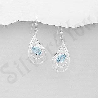 AR305 - Cercei argint lacrima cu topaz bleu