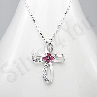 Colier argint cruce cu rubine si diamante albe - AR302