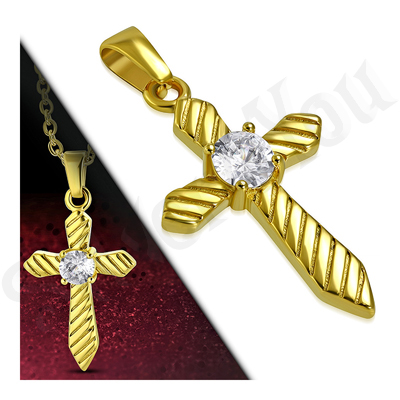 Cruce in culoarea aurului cu zircon alb - LR108