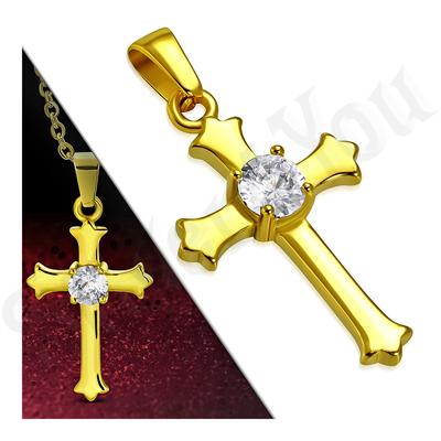 Cruce inox aurit cu zircon alb - LR111
