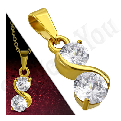 Pandantiv inox auriu cu zirconii albe - LR115