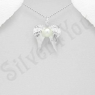 Pandantiv argint aripi si perla - AS100