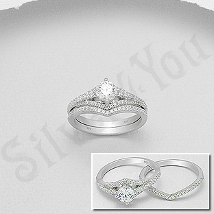 Set 2 inele argint cu zirconii albe - AS106