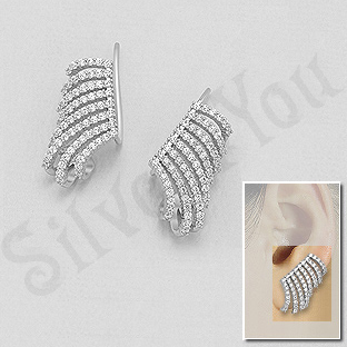 "Cercei argint ""ear cuf""   cu zirconii albe - AS109"