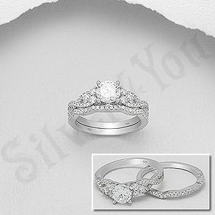 Set 2 inele argint cu zirconii albe - AS108