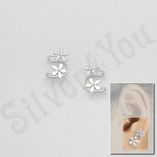 """Cercei argint """"ear cuf""""  floare cu zirconii albe - AS116"""