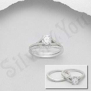 Set 2 inele argint logodna cu zirconii albe - AS115