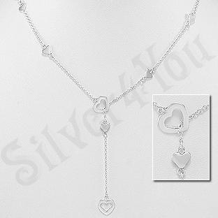Colier pandantiv argint cu inimioare - AS150