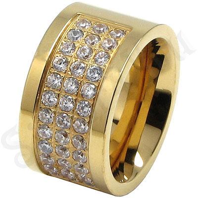 Inel inox aurit cu zirconii albe - LR247