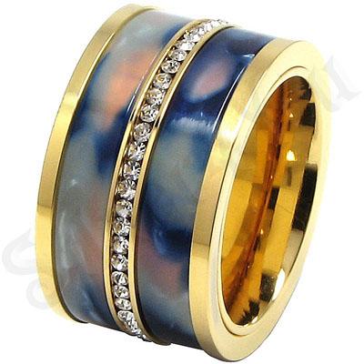 Inel inox aurit cu zirconii albe si ceramica - LR252