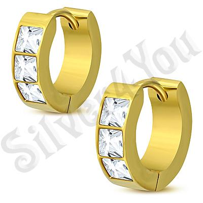 Cercei inox aurit si zirconii albe - PK6050