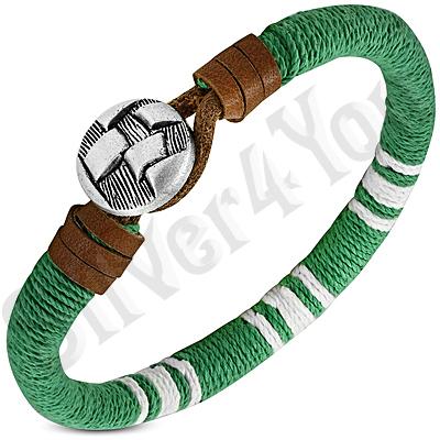 Bratara piele si siret verde cu alb - PK6080