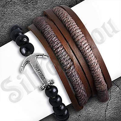Set bratari piele si margele din lemn cu ancora - PK6090