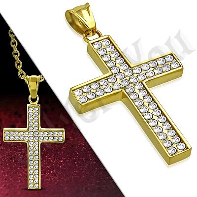Cruce inox aurit cu zirconii albe - PK6035