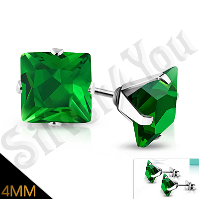Cercei inox cu zircon verde/4 mm - PK6056